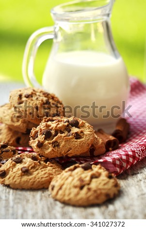 cookies with cinnamon and milk for breakfast - stock photo
