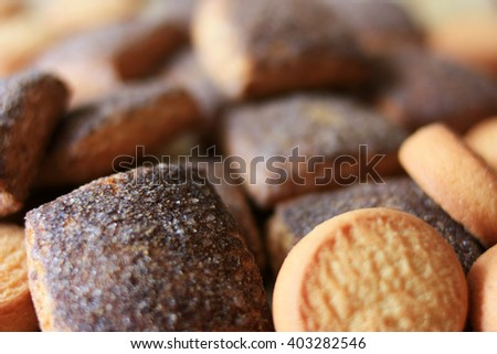 Cookies with cinnamon for breakfast - stock photo