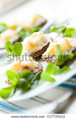 Cookies with cottage cheese and pear jam, close up - stock photo
