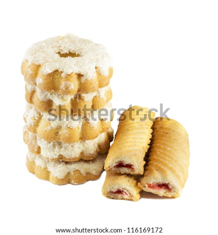 Cookies with jam and coconut isolated