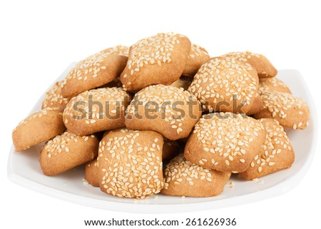 Cookies with sesame seeds - stock photo