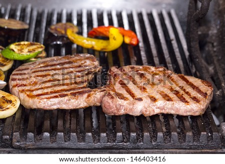 cooking a steak on the grill in the restaurant