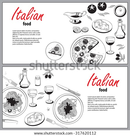 Cooking banner template with hand drawn objects on italian food theme: pizza, pasta, tomato, olive oil, olives, cheese, lemon, sauce. Ethnic cuisine concept. Italian cuisine hand drawn objects - stock photo