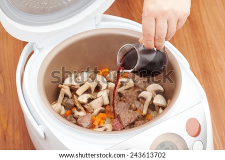 cooking beef stew - stock photo