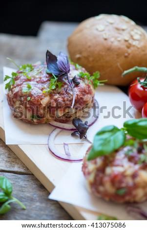 Cooking burger - ingredients - stock photo