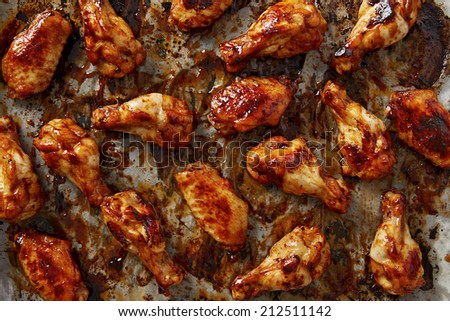Cooking chicken wings with sriracha sauce