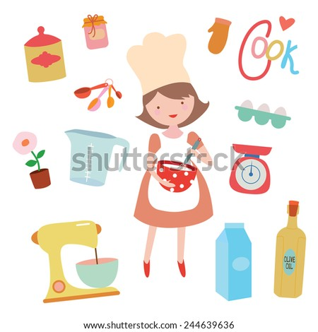Cooking clip art set with young girl preaparing sweet food - stock photo