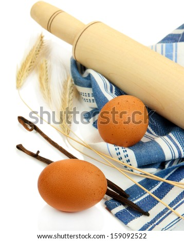 Cooking concept. Basic baking ingredients and kitchen tools isolated on white - stock photo