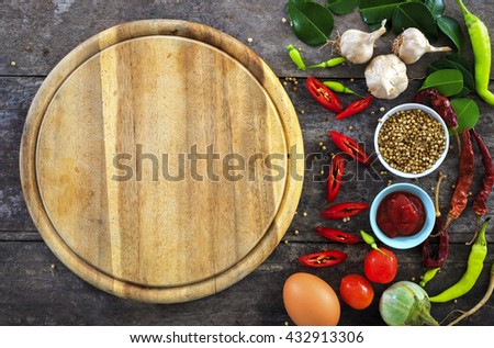 cooking concept, fresh kitchen herbs and spices on wooden table. top view and nature light [over light] - stock photo