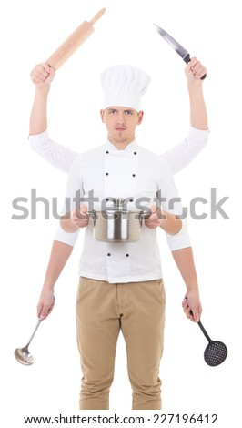 cooking concept - man in chef uniform with 6 hands holding kitchen equipment isolated on white - stock photo