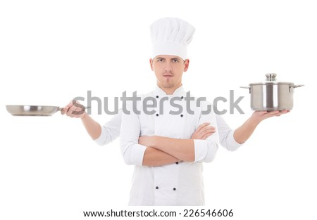 cooking concept - young man in chef uniform with four hands holding saucepan and frying pan isolated on white background - stock photo