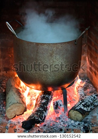 Cooking food in a pot on the fire - stock photo