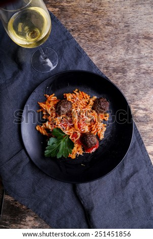 Cooking, food. Meatballs on a dish - stock photo