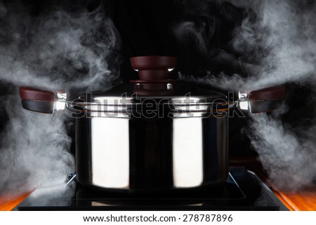 cooking food with hot stream power of stainless steel pot on electric magnet stove use for kitchen and meal preparing theme - stock photo