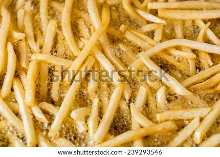 cooking french fries with oil - stock photo