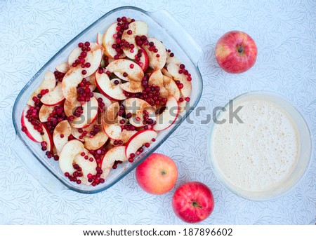 Cooking fruit and berry pie - apple, cranberry and foxberry, russian cuisine. Raw food on table background. Organic ingredients, healthy food. - stock photo