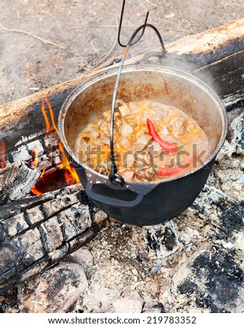 Cooking Goulash soup in cauldron on burning campfire - stock photo