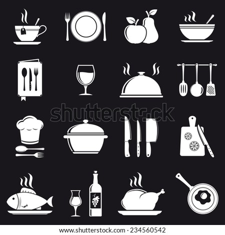 Cooking icons - stock photo
