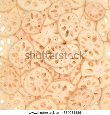 Cooking ingredient, slices of lotus root - stock photo