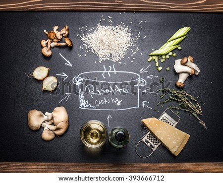 Cooking Ingredients for mushrooms risotto with  hand drawings on dark chalkboard. Italian food - stock photo