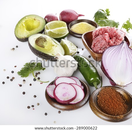 Cooking Ingredients With Ground Beef - stock photo