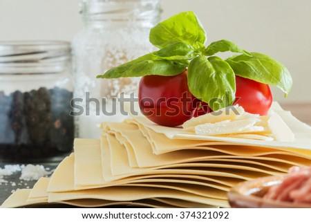 cooking italian food pasta lasagna bolognese ingredients - stock photo
