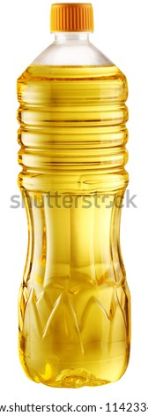 Cooking oil in a plastic bottle on a white background. File contains a path to cut. - stock photo