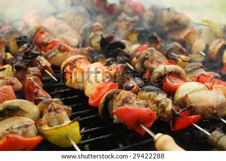 Cooking on a barbecue grill - stock photo