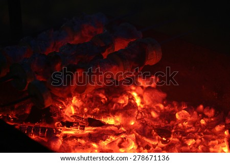 Cooking on coals in the night - stock photo