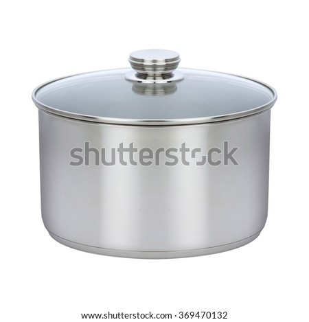 Cooking pot isolated on white - stock photo