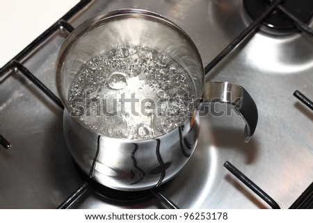 Cooking pot on the fire with boiling water