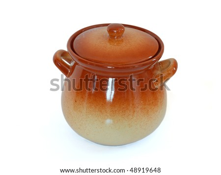 cooking pot over white background - stock photo