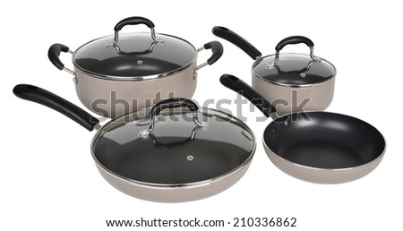 Cooking pot set isolated. - stock photo