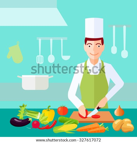 Cooking process chef cut tomato with much of vegetables on table flat color concept  illustration  - stock photo