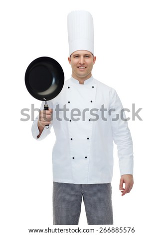 cooking, profession and people concept - happy male chef cook holding frying pan - stock photo
