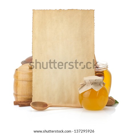 cooking recipes background and jar full of honey on white - stock photo