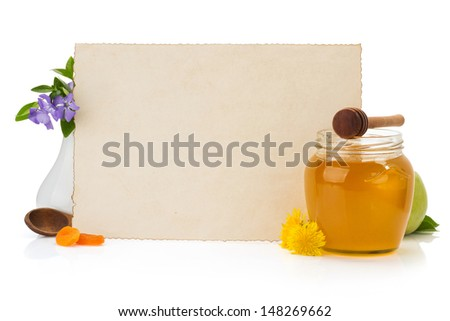 cooking recipes note paper and spices on white background - stock photo