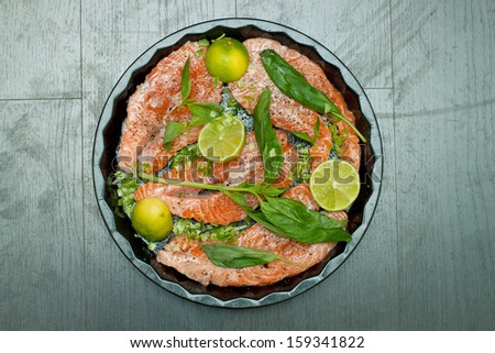 Cooking salmon - stock photo