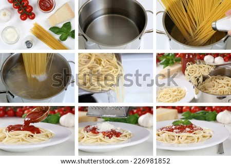 Cooking spaghetti noodles pasta with tomato sauce and basil: step by step instruction - stock photo