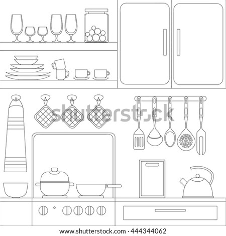 Cooking tools set. Hand-drawn design elements. illustration with items for cook. - stock photo