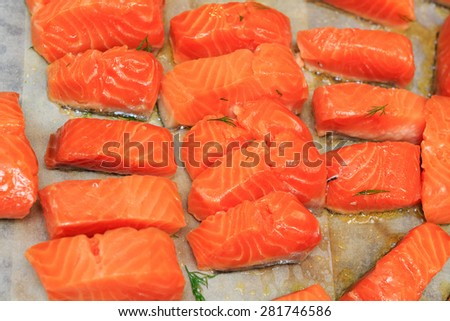 Cooking trout - stock photo