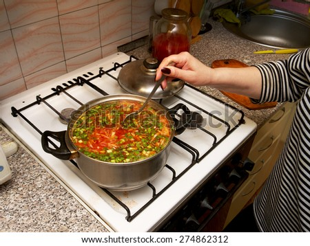 cooking Ukrainian borsch in a pot on the home kitchen - stock photo