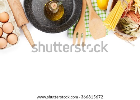 Cooking utensils and ingredients. Isolated on white background - stock photo