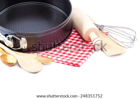 Cooking utensils for baking isolated on white background. - stock photo