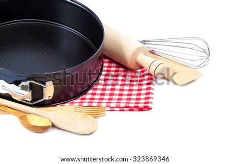 Cooking utensils for baking isolated on white background.