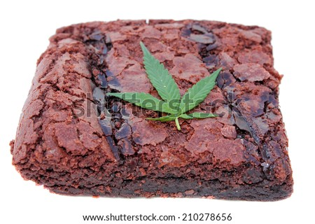 Cooking with Cannibals. Genuine Medical Marijuana Chocolate Brownie, aka medical cannabis brownies, Pot Brownies or edibles. Isolated on white with room for your text. Medical Edibles are a good fun. - stock photo