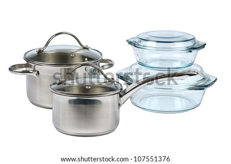 Cookware from metal and glass isolated on a white background - stock photo