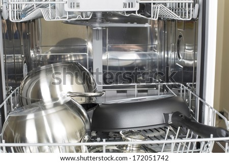 cookware in the dishwasher after washing and drying