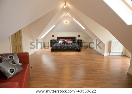 cool and nice looking bedroom complete with sofa - stock photo