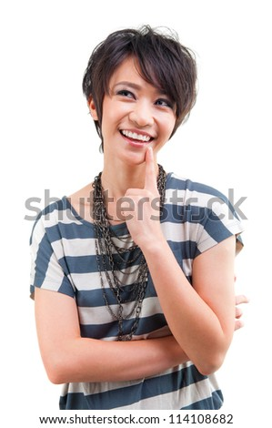 Cool Asian girl having a thought over white background - stock photo